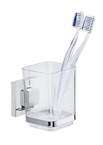 Wenko 22680100 Vacuum-Loc Zahnputzbecher Quadro Zahnbürstenhalter, Befestigen ohne Bohren, Edelstahl rostfrei, glänzend, 10 x 7, 5 x 10 cm