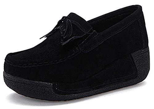 Eagsouni Damen Mokassins Plateau Loafers Casual Sneaker Fahren Schuhe Wildleder Slip on Slipper Keilabsatz Freizeitschuhe Halbschuhe