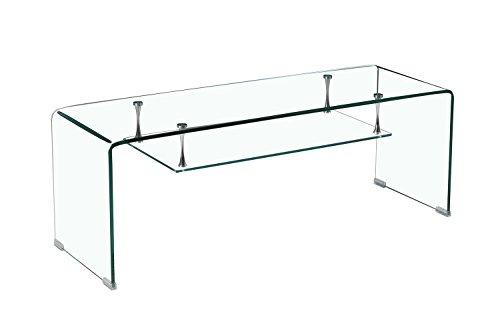 Meuble TV en Verre Transparent - étagère Suspendue Style épurée - Design Salon Moderne - Ice