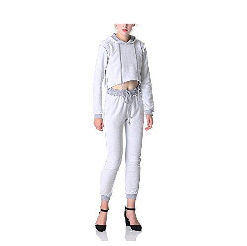 Femme Sweat-shirt à Capuche + Pantalon Manche Longue Ensemble Veste de Sport Survêtement Slim Fitness Yoga Gris
