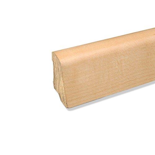 Echtholz Sockelleiste Fußbodenleiste aus Kiefer-Massivholz in Ahorn furniert 2500 x 22 x 45 mm