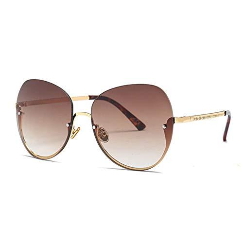 MJDABAOFA Sonnenbrillen,Mode Randlose Sonnenbrille Gold Frame Braun Objektiv Neue Groß Damen Katze Brille Schattierungen Eyewear Für Männer Frauen Uv400