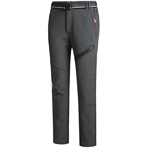 WE&ZHE De los hombres al aire libre Soft shell polar pantalones espesar cálido impermeable a prueba de viento flojo tipo más terciopelo otoño e invierno pantalones de escalada , 3# , male models