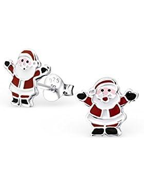 Liara - Kinder Weihnachtsmann Bunte Ohrstecker 925 Sterling Silber.Poliert und Nickel frei