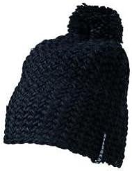 Myrtle Beach Häkel-Mütze mit Bommel einfarbig, Farbe:black