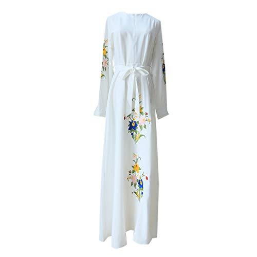 l Abendkleid Hochzeit Kaftan Robe Muslim Lang Maxikleid Islamische Kleidung Vintage Langarm Abaya Dubai Festkleider Stickerei Drucken Gewand ()