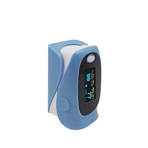 Yoja Health Oxymètre de pouls et sang saturation en oxygène Monitor avec écran OLED–moniteur de fréquence cardiaque pour adulte, avec housse de transport (Noir de jais) Cordon, avec alarme Paramètre, Approuvé CE, bleu