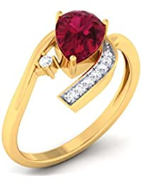CaratPearl 18KT Yellow Gold, Diamond And Ruby Ring For Women