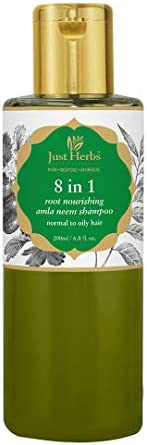 Just Herbs Ayurvedic 8 in 1 Root Nourishing Amla Neem Shampoo for Dry & Frizzy Hair, Controls Hairfall, Si