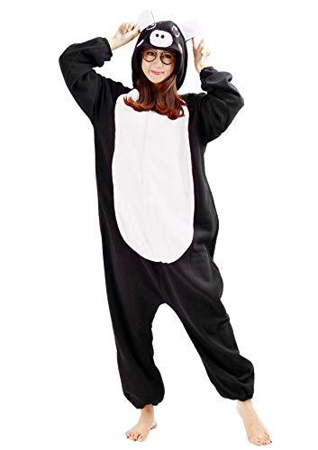 Unisex Kigurumi Jumpsuit Tier Pyjamas Kostüm Fasching Onesie Damen Herren Karneval Cosplay Nachtwäsche, Schwarz Schwein