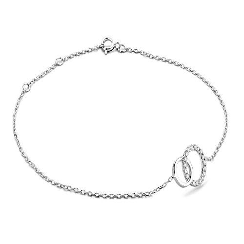 Miore Armband - Armreif Damen Kette  Weißgold 9 Karat / 375 Gold  Diamant Brillianten 0.08 ct  18 cm - Frauen Für Diamant-gold-armbänder