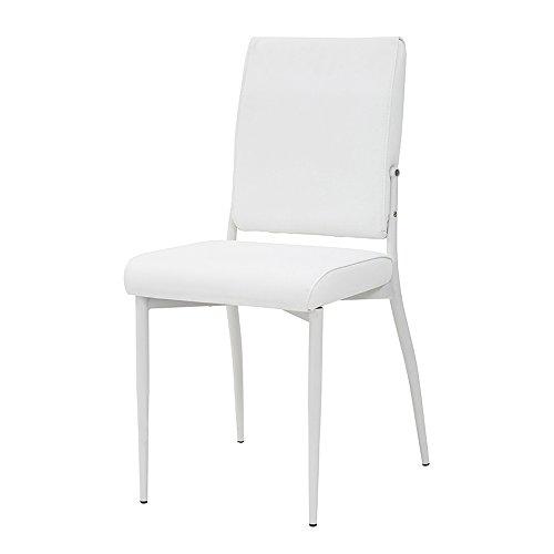 Cribel trilly sedia, metallo satinato/similpelle, bianco, 42x52x86 cm, 4 unità