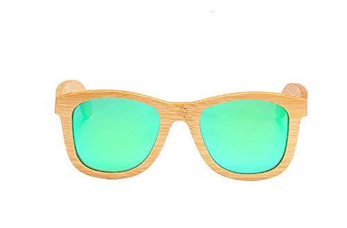 GY-HHHH Klassisches Retro-Outdoor-EssentialEINE SCHWALBE Echte Sonnenbrille aus massivem Holz Polarisierte Sonnenbrille aus Holz UV400 Sonnenbrille aus Bambusholz_green