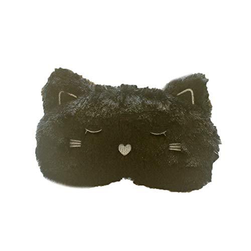 Chakil 1 weiche flauschige Augenmaske für Frauen und Kinder, niedliche schwarze Katzen-Form, Augenmaske, 19 x 10 cm