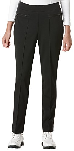 PGA TOUR Women's Comfort Stretch Solid Ponte Pant, Caviar, 4 -
