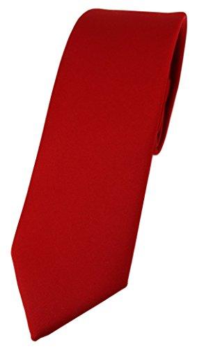 TigerTie schmale Designer Krawatte in rot einfarbig Uni - Tie Schlips Krawatte, Lange Krawatte