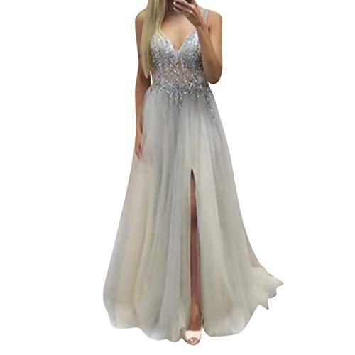 UFACE Damen Maxikleid Langes Elegantes Kleid Spitzen Spleiß Chiffon Bodenlänge Cocktail Formell Kleider Braut Brautjungfer Hochzeitskleider