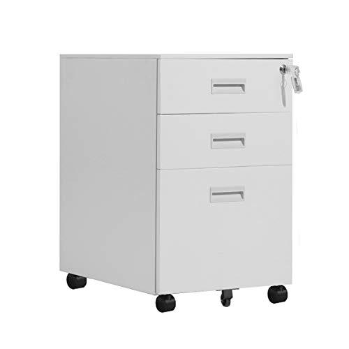 Dlandhome cassettiera da ufficio armadio classificatore mobile in metallo con ruote bloccabili, 3 cassetti, serratura,biano deu-hccbn002-w