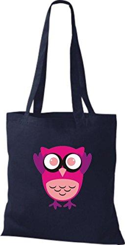 niedliche Tragetasche Eule Retro mit Owl Farbe diverse Punkte blau Stoffbeutel Jute ShirtInStyle Bunte ng6paSBg