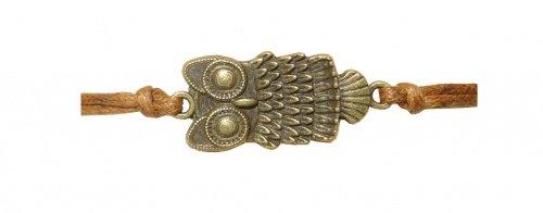 Armband Eule gold aus Stahl, Lederoptik braun