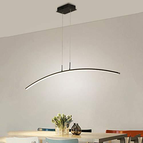 LED längliche Schwarz Dimmbar Pendelleuchte Aluminium Acryl 120cm Lang Hängeleuchte Esstischleuchte Bartheke Bürolampe Restaurant Höhenverstellbare Esszimmer Deckenleuchte mit Fernbedienung 24W