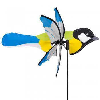 Windspiel und Mobile - CIM Petite 2 in 1 KOHLMEISE - UV-beständig und wetterfest - Propeller Ø31cm, Länge 41cm, Gesamthöhe 90cm - inkl. Fiberglasstandstab und Hänge Set mit Nylonschnur, Clips und Kugellagerhaken