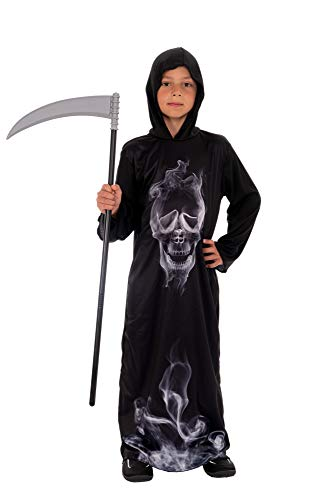 Magicoo Gespenst Skelett Kostüm Kinder Jungen schwarz inkl. Robe & Kapuze - Gr 110 bis 140 - Halloween Dämon Skelett-Kostüm Kind (122/128) (Kinder Komplette Zombie Kostüm)