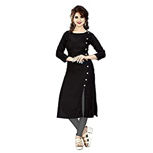 HF HOLYDAY FASHION Women's Plain & Solid Rayon A-Line Kurtis
