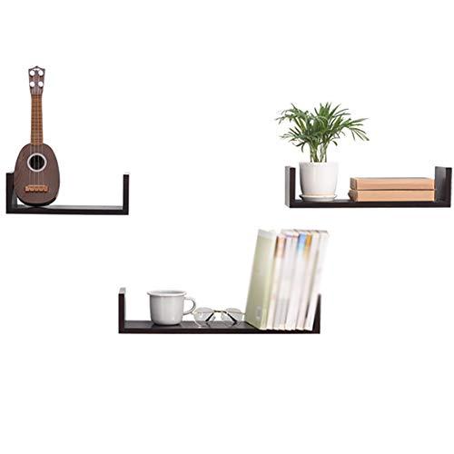 WENYUAN Schwimmendes Regal U-förmige Wandhalterung aus Holz als Dekorationsständer für Haushaltsgeräte (Size : Brown) -