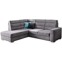 MEUBLO Grand canapé d'angle Convertibles avec Coffre Tissu Benjamin (Gris, Canapé d'angle Gauche)
