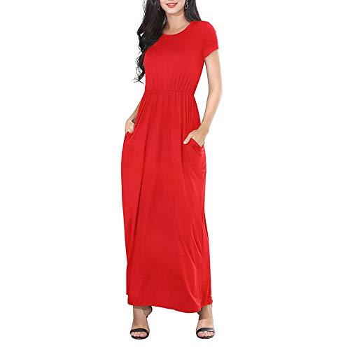 TOPGIFTS Damen Bodenlanges Kleid Jersey Tailliertes Maxikleid Sommerkleid Damen Lang Maxikleider für Damen Strandkleid Sexy Kleid Kurzarm Jerseykleider Strickkleider Rundhals mit Gürtel -