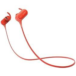 Sony MDRXB50BSR.CE7 - Auriculares deportivos in-ear Bluetooth (EXTRA BASS, NFC, LDAC, manos libres para Apple iPhone y Android, autonomía de 8,5 h), color rojo