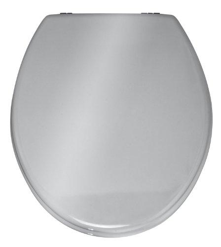 Wenko 152256100 WC-Sitz Prima Silber glänzend - Spülkasten geeignet, rostfreie Edelstahlbefestigung, MDF, 38 x 41 cm