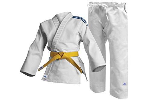 adidas Judo-Anzug Club weiß/Blaue Streifen, J350 (150)