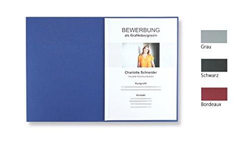 """8 Stück 2-teilige Bewerbungsmappen Blau mit 1 Klemmschiene in feinster Lederstruktur - inkl. 8 Versandumschläge in Weiß GRATIS - hochwertige Prägung """"BEWERBUNG"""" - direkt vom Hersteller STRATAG"""