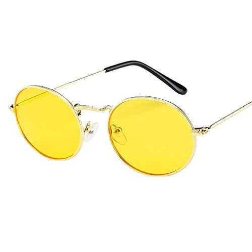 Sonnenbrille Polarisiert für Damen/Dorical Retro Oval Metallrahmen Bonbonfarben Unisex Klein Brille mit UV-400 Schutz Vintage Outdoor Brille Super Coole Frauen Sunglasses Travel Eyewear(C)