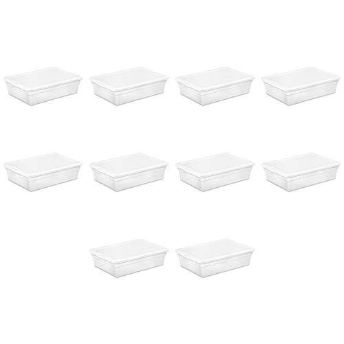 Sterilite 1655801028Quart/27Liter Aufbewahrungsbox, weiß Deckel W/klar Boden, 10er Pack (Sterilite Aufbewahrungsbox)