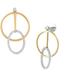 TBZ The Original 18KT Yellow Gold and Diamond Drop Earrings for Women