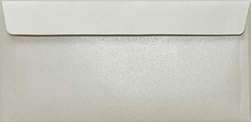 100 Perlmutt- Creme DIN Lang Umschläge, 110x220mm, 110g, Sirio Pearl Oyster Shell, gerade Klappe, ideal für Hochzeit, Geburtstag, Taufe, Weihnachten, Einladungen
