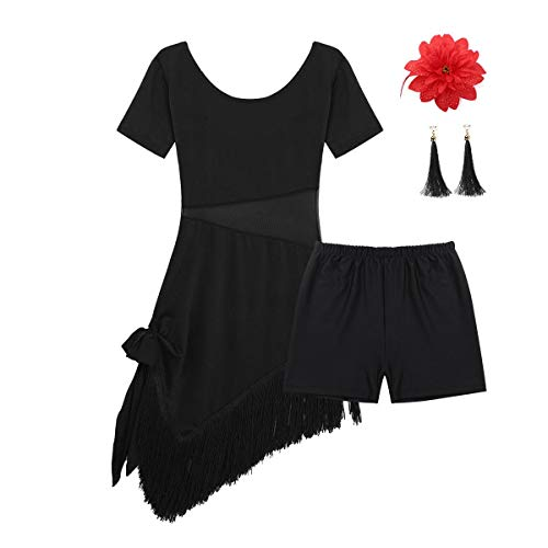 inhzoy Vestido de Baile Latino para Niña Vestido de Flamenco Tango Rumba Borlas Flecos Traje de Samba Salsa Dancewear Traje de Actuación Bailarina Negro 10-12Años