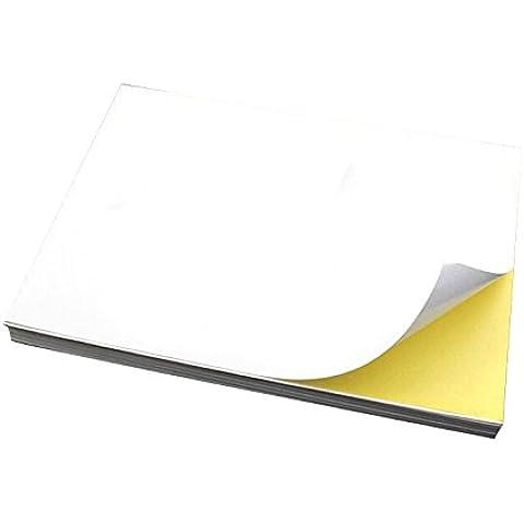 De alta calidad Drasawee A4 mate blanco funda auto-adhesiva vinilo adhesiva papel para imprimir etiquetas impresora de inyección láser imprimible en toda la hoja, Blanco, WV0929-1