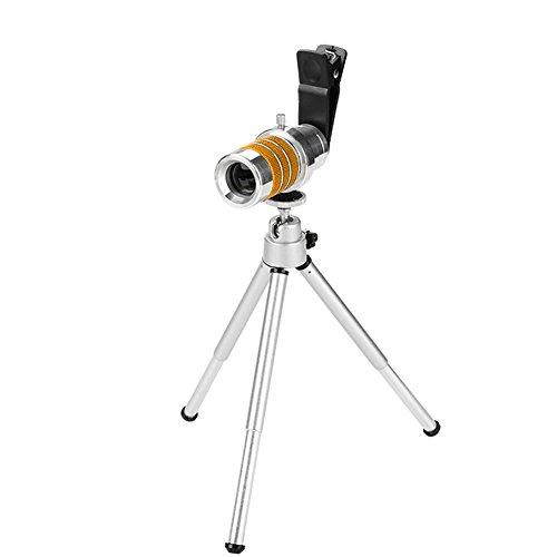 Alomejor Monokular Teleskop 10Times Monokular Kit mit Objektivdeckel Telefonclip Stativ für Vogelbeobachtung Jagd Wandern Sport(Gelb)
