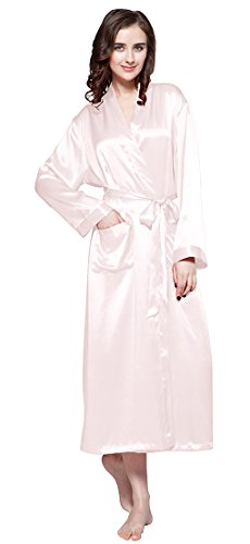 f1151a8d29 LILYSILK Women s Silk Dressing Gown Long Ladies Kimono Robe 100% Pure  Mulberry 22 Momme Silk Light Pink Size 8 XS - Buy Online in Oman.