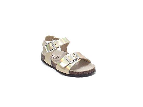 Scarpe Bambina ragazza, sandalo EB 80 in pelle metallizzata, colore platino