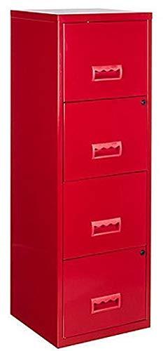 Colonne de rangement 4 tiroirs en métal rouge 40x40x126cm