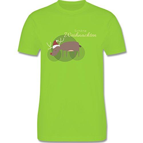 Weihnachten & Silvester - Schöne Weihnachten Elch Weihnachtsmütze - Herren Premium T-Shirt Hellgrün
