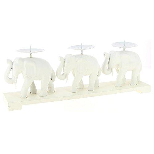 PURITY FEEL Candelero para 3 Velas - Decoración Elefante - Color Blanco