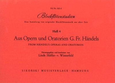 Partitions classique SIKORSKI HÖFFER VON WINTERFELD L. - BLOCKFLöTENSTUDIEN AUS OPERN UND ORATORIEN G.F. HÄNDELS Flûte à bec