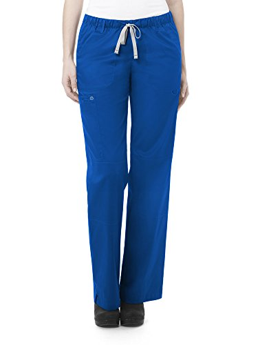 WonderWink Women's Petite-Plus-Size Wonderwork Straight Leg Cargo Scrub Pant, Royal, 2X-Large -