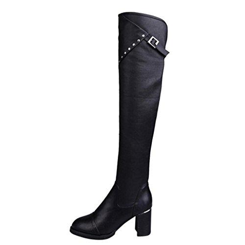 ESAILQ Bottes Élasticité Stovepipe Femme Bottes Chaussures Classiques Rétro